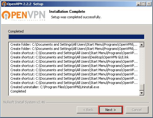 OpenVPN - Windows XP - Step 7